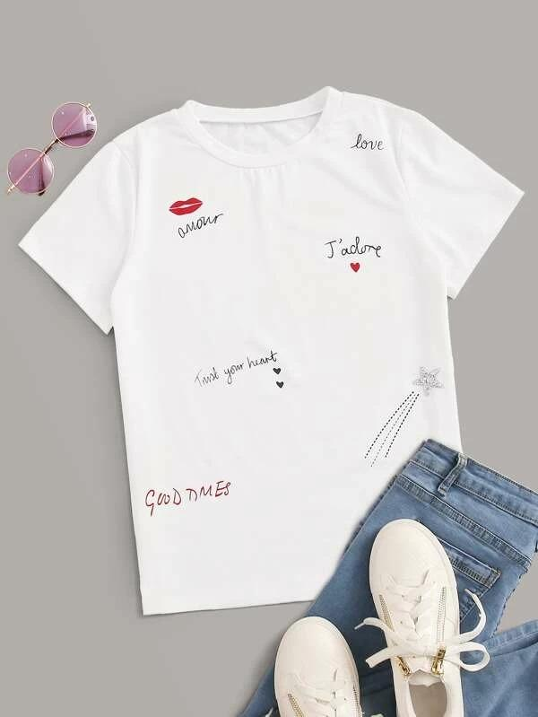 Women Figure & Letter Graphic Tee