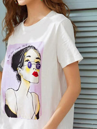 Women Figure & Slogan Graphic Tee