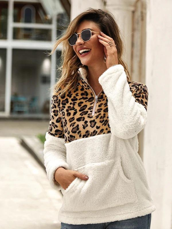 Women Flannel Contrast Leopard Quarter Zipper Teddy Sweatshirt