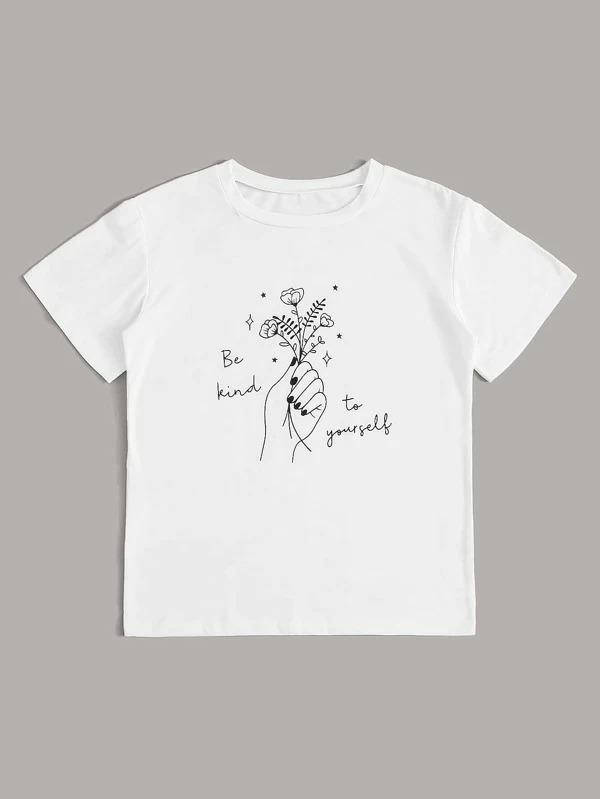 Women Floral And Slogan Graphic Tee