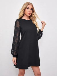 Women Floral Applique Sheer Lantern Sleeve Dress