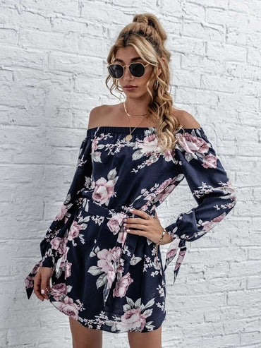 Women Floral Bardot Tie Cuff Belted Tunic Dress