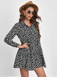 Women Floral Button Front Ruffle Hem Dress