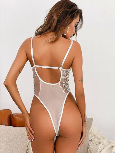 Women Floral Embroidered Mesh Lace-up Teddy Bodysuit