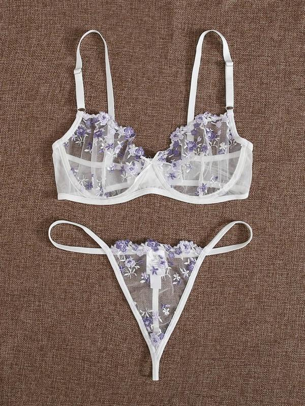 Women Floral Embroidered Mesh Underwire Lingerie Set