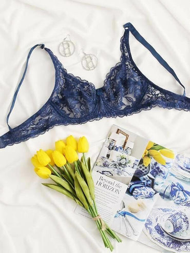 Women Floral Lace Push Up Bra