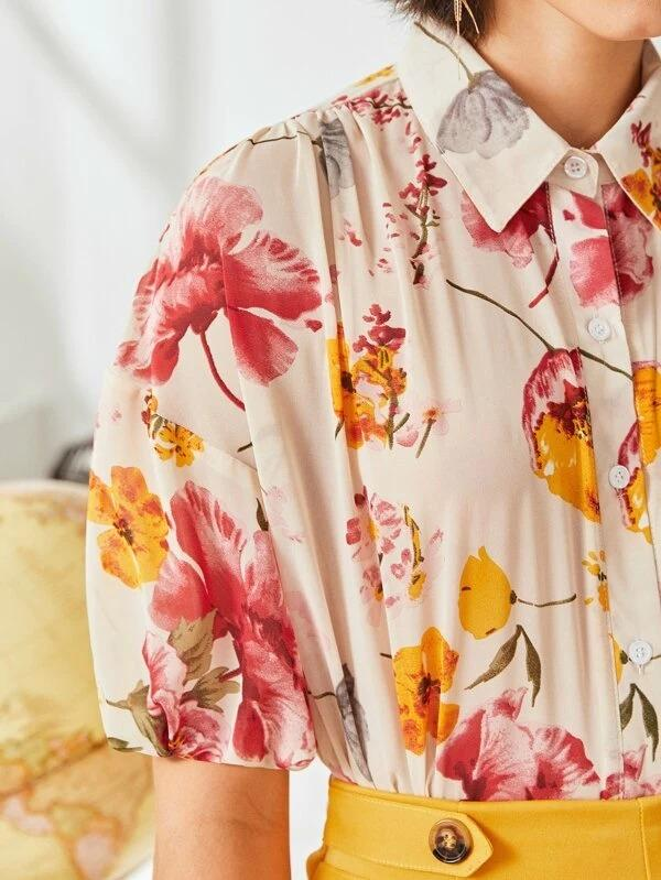 Women Floral Lantern Sleeve Button Up Blouse