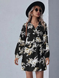 Women Floral Print Button Front Dress Without Bag