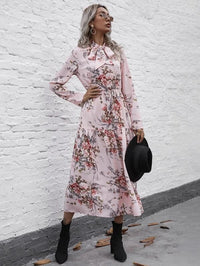Women Floral Print Tie Neck A-line Dress