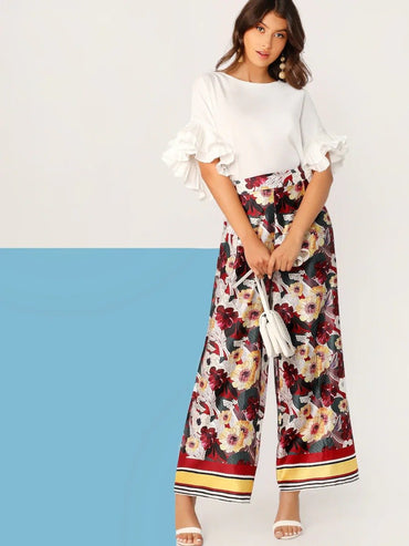 Women Floral And Striped Wide Waistband Palazzo Pants