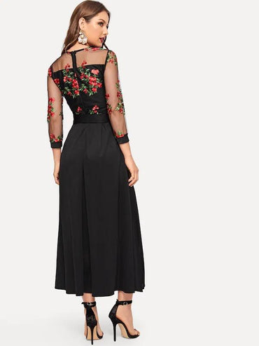 Women Floral Embroidered Contrast Mesh Dress