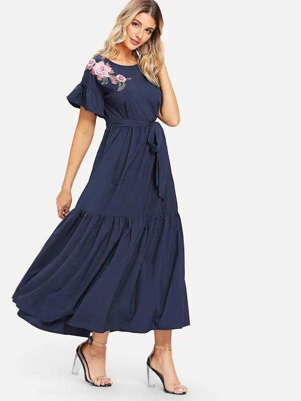 Women Floral Embroidered Self Belted Tiered Maxi Dress