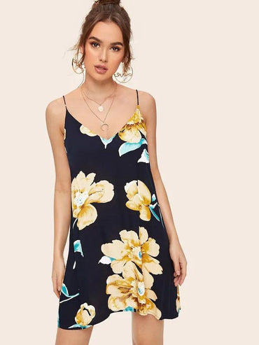 Women Floral Print Double V Neckline Cami Dress