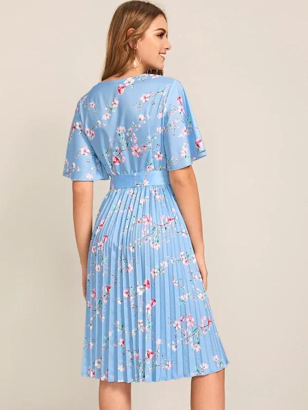 Women Floral Print Pleated Belted Dress