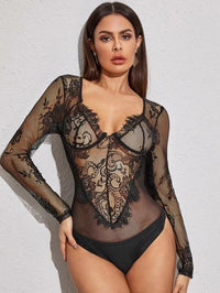 Women Floral Sheer Lace Bodysuit