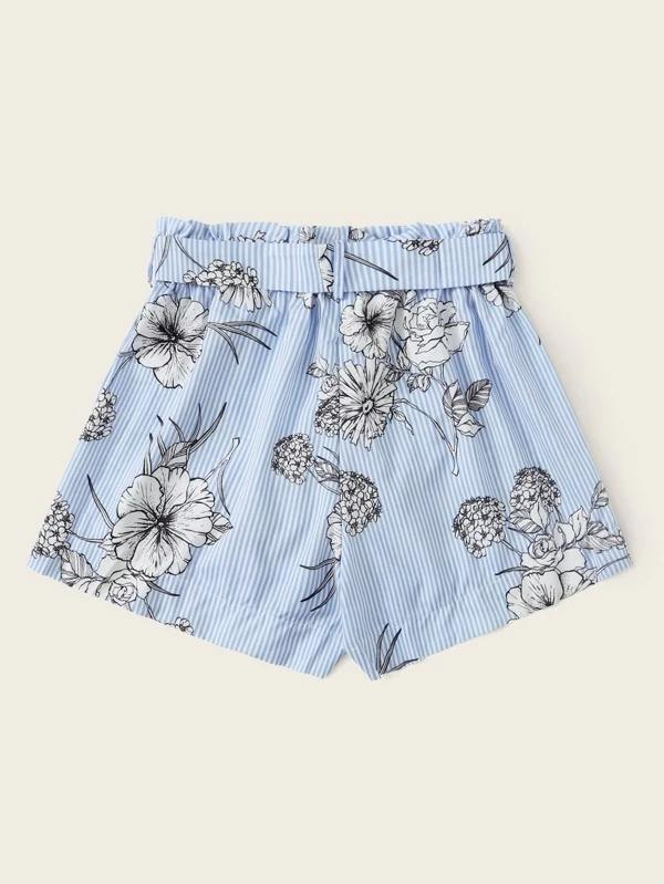 Women Floral & Striped Print Belted Paper Bag Shorts