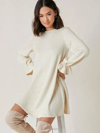 Women Flounce Sleeve Solid Dress