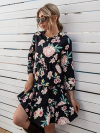Women Flower Print Keyhole Back Babydoll Dress Without Belt