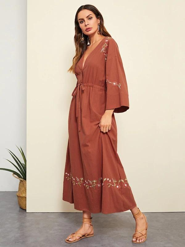 Women Flower Embroidered Drawstring Waist Maxi Dress