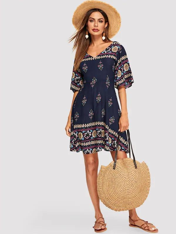Women Flutter Sleeve Fit & Flare Tribal Dress