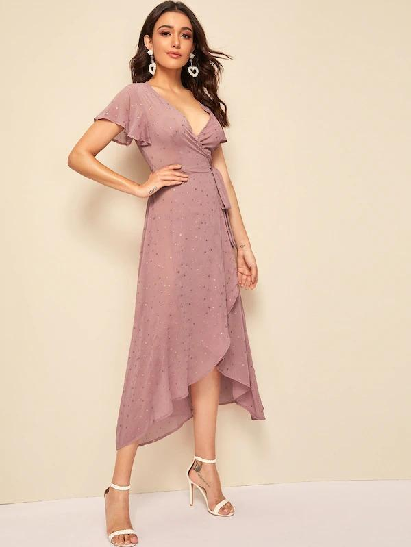 Women Flutter Sleeve Gold Star Print Wrap Dress