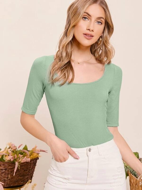 Women Form Fitted Rib-knit Solid Tee