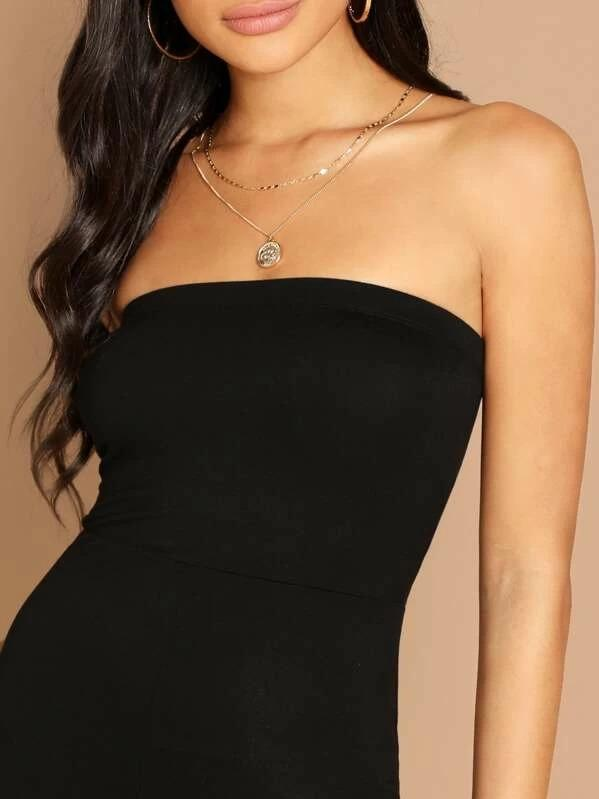 Women Form Fitting Glitter Strapless Romper
