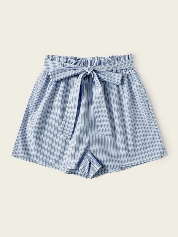 Women Frill Waist Vertical Stripe Belted Shorts
