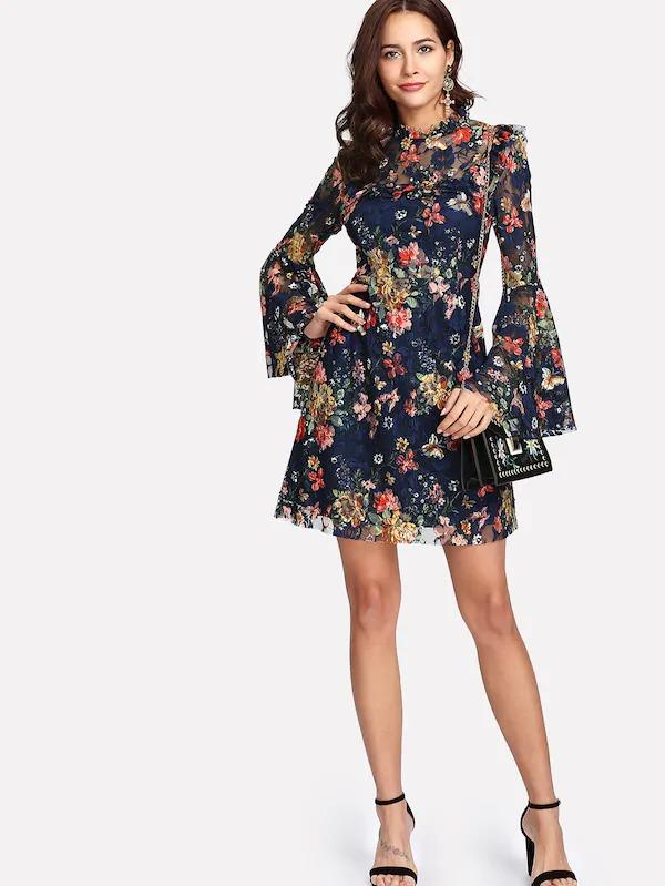 Women Frill Neck Flounce Sleeve Floral Lace Dress