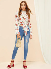 Women Frill Trim Shirred Floral Crop Top