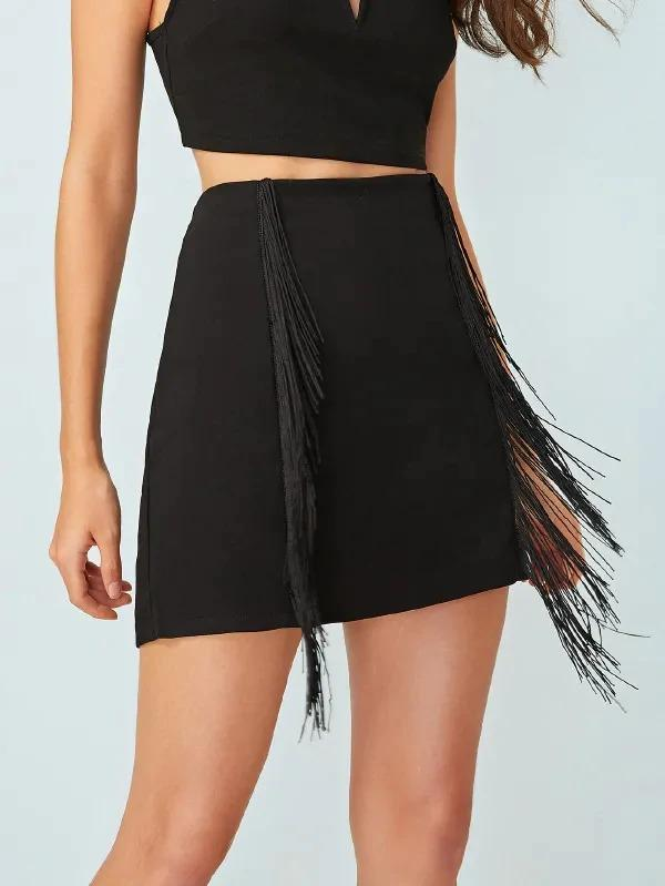 Women Fringe Zip Back Solid Skirt