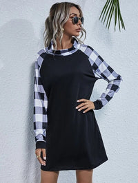 Women Funnel Neck Gingham Raglan Sleeve Dress