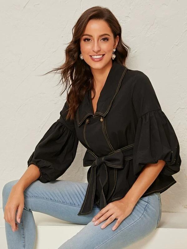 Women Gathered Sleeve Contrast Stitch Belted Blouse