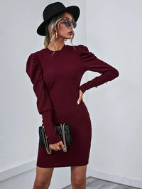 Women Gigot Sleeve Bodycon Dress