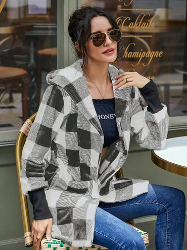 Women Gingham Dual Pockets Hooded Coat