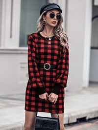 Women Gingham Print Dress Without Belt