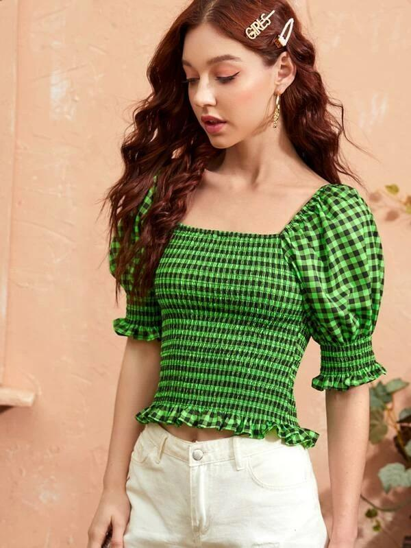 Women Gingham Print Shirred Fitted Blouse