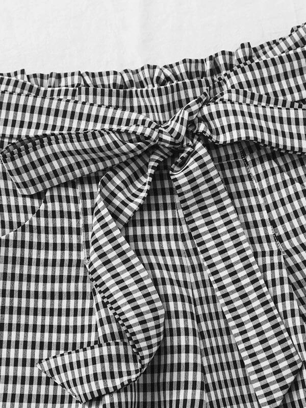 Women Gingham Wide Leg Belted Shorts