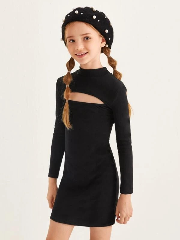 Girl Stand Collar Cut Out Front Dress