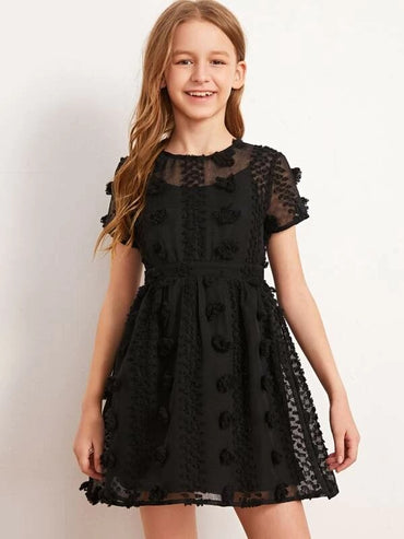 Girls 3D Applique 2 In 1 Dress