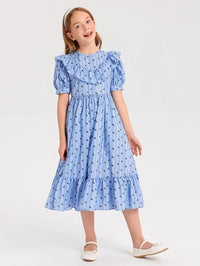 Girls All Over Print Ruffle Hem Bishop Sleeve Dress