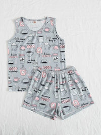 Girls Allover Print PJ Set