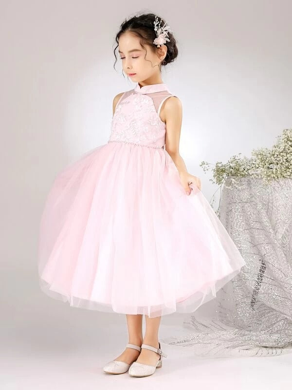 Girls Applique Pearl Beaded Mesh Party Dress