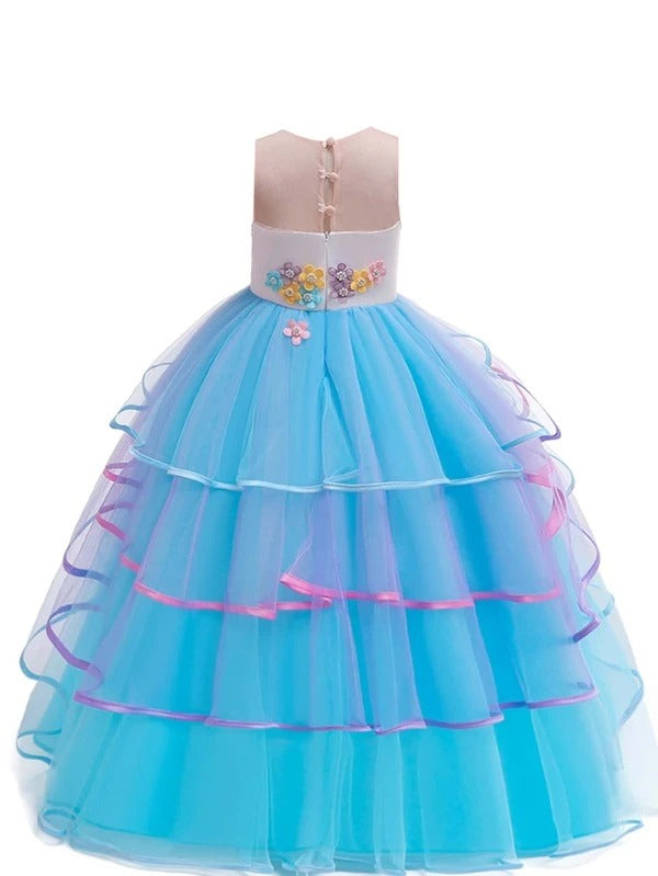 Girls Appliques Beaded Layered Gown Dress