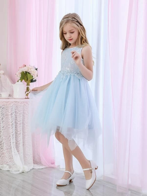 Girls Appliques Lace Bodice Mesh Hanky Hem Dress