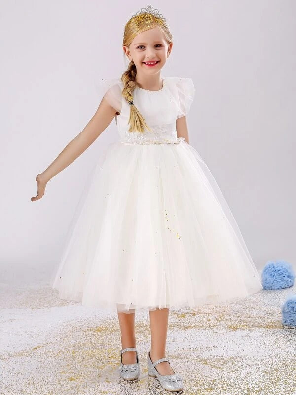Girls Appliques Ribbon Tie Back Mesh Gown Dress