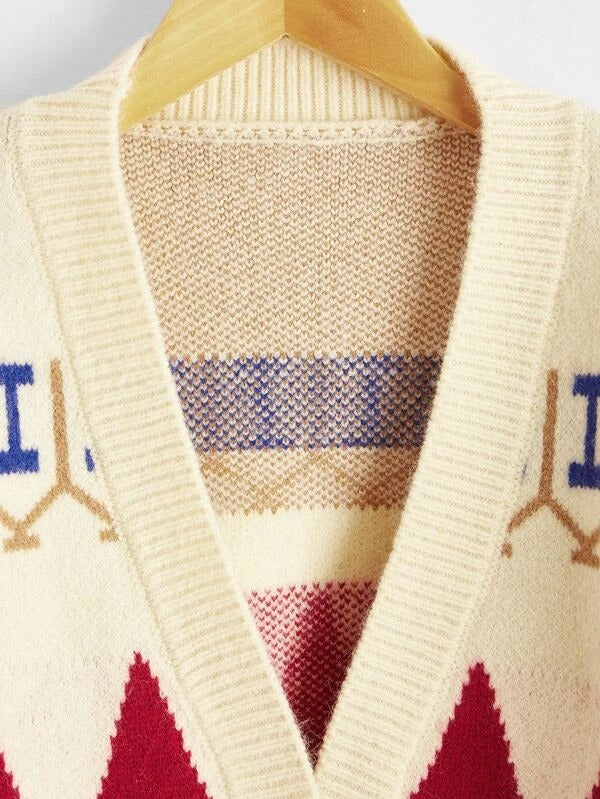 Girls Argyle Pattern Dual Pocket Cardigan