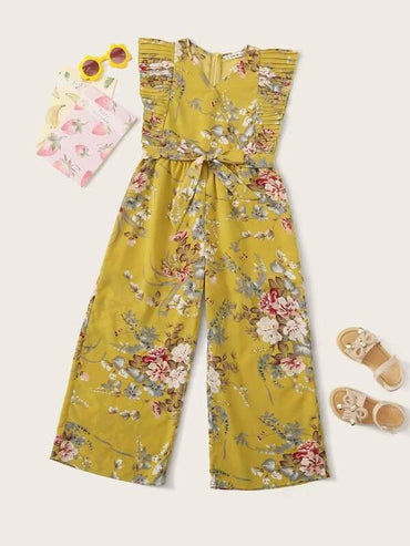 Girls Botanical Print Pleated Detail Palazzo Jumpsuit With Belt