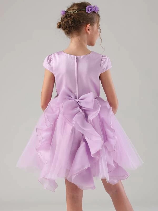 Girls Bow Back Appliques Detail Ruffle Tulle Party Dress