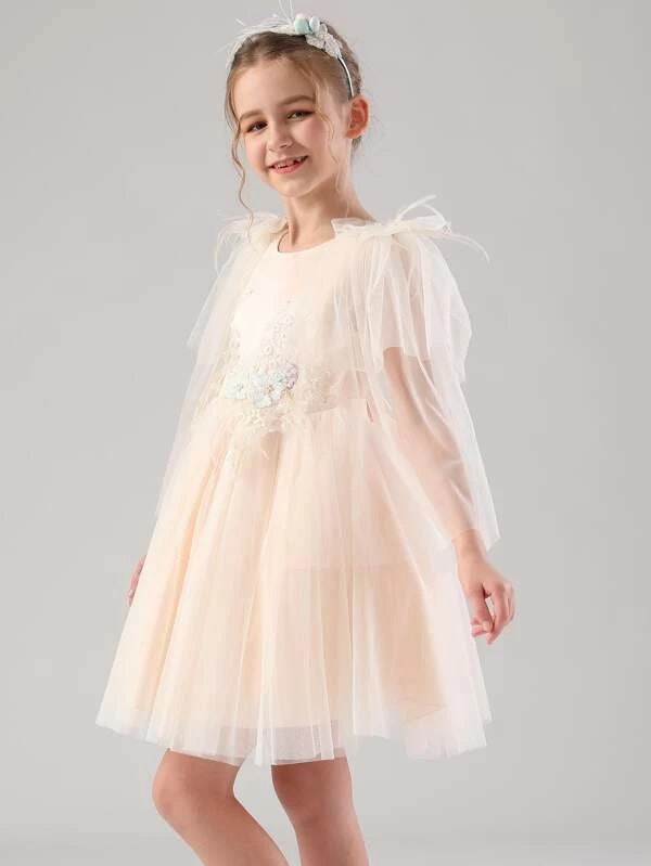 Girls Bow Back Appliques Detail Tulle Party Dress